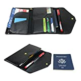 All-In-One Large Capacity RFID Blocking Travel Wallet - Multi-Purpose Passport Holder and Organizer (Black)