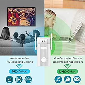 WiFi Extender,WiFi Range Extenders High Speed Signal Booster 1200Mbps 2.4 + 5Ghz Dual Band Wi-Fi Amplifier Repeater with WPS (Color: Extender)