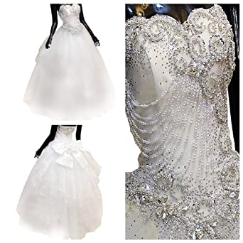 Glamour sales diamond crystal applique custom made for Wedding dresses with pearls and diamonds