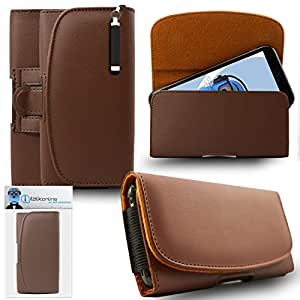 iTALKonline Motorola Moto Z Play / Droid Brown PREMIUM PU Leather Horizontal Executive Side Pouch Case Cover Holster with Belt Loop Clip and Magnetic Closure Includes Re-tractable Captive Touch Tip Stylus Pen.