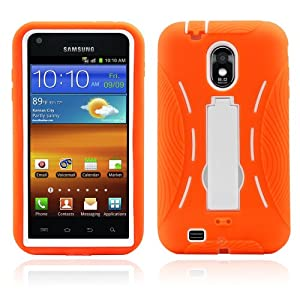 Premium Heavy Duty Hybrid Case (Outer Silicone + Inner Hard Protector Case w/ Kickstand) Galaxy S2 Sprint Samsung Epic Touch 4g (Model SGH D710) - Orange and White (MagicMobile Charm Gratis)