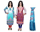 Indistar Women Pashmina Jaamavaar Digital Printed Unstitched Kurti Fabric Combo With Super Soft Viscose Stole