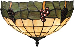 Elk 70099-2 14 by 9-Inch Grapevine 2-Light Wall Sconce with Honey Dune Stained Glass Shade, Vintage Antique Finish