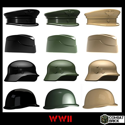 WWII Helmets and Headgear 12 pack - Custom Army Builder Minifig Toy Accessories lot (Lego Ww2 British Helmet compare prices)