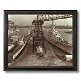 Warships Norfolk Navy Yard Norfolk VA 1940 Maritime Photo Wall Picture Black Framed Art Print