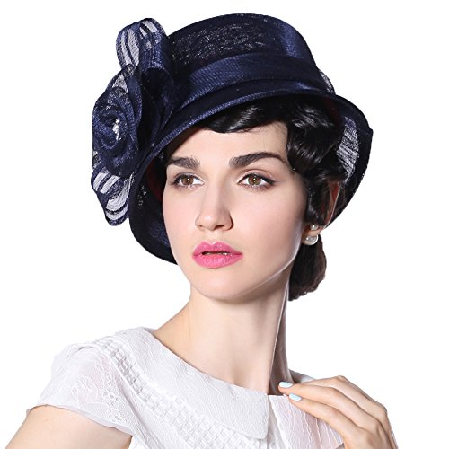 June's Young Women Sinamay Hat Bucket Hat for Wedding Parties Samll Brim Big Rose Hat(Navy)