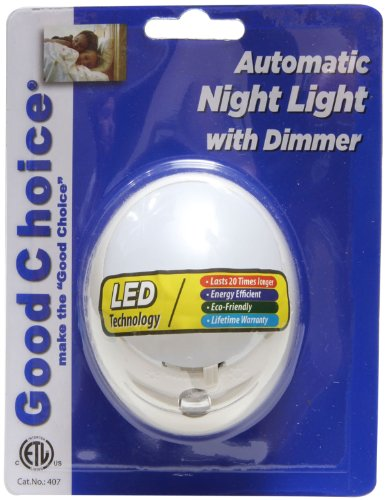 Good Choice 407 Dusk-To-Dawn White Automatic Led Night Light With Dimmer
