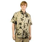 Khaki Palm Trees Hawaiiabera Shirt
