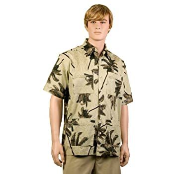 Khaki Palm Trees Hawaiiabera Shirt