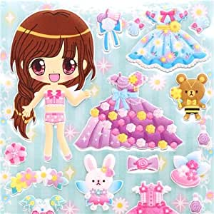 Amazon.com: Kamio dress up doll 3D stickers princess dress ball gown