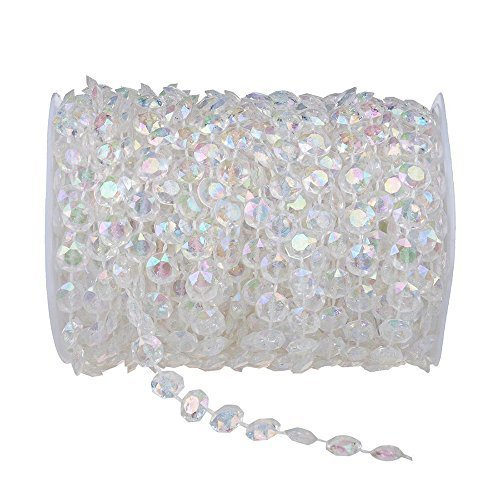 EconoLed 99 ft Clear Crystal Like Beads by the roll - Wedding Decorations - 1Roll
