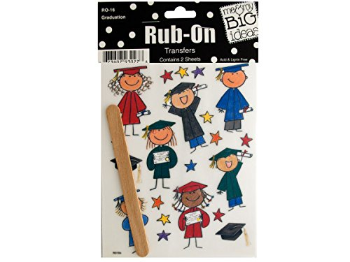 bulk buys Graduation Rub-On Transfers, Black/Brown/Yellow/Green/Blue/Red
