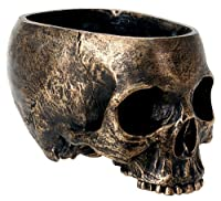 Bronze Resin Halloween Skull Candy Bowl Dish Statue Sculpture Skeleton