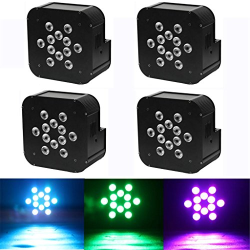 Yiscor Stage Lighting Led Par Light 12Leds 12X10W Rgbw 4In1 Dmx512 Mixing Colors For Home Garden Party Dj Disco Club Effect (Pack Of 4)