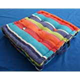 Cotton Floor Cushion Multi Coloured Stripes, 50 x 50cm