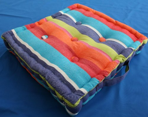 Cushions & Covers (UK): Homescapes - Multi coloured Stripe - Floor Cushion - Extra Large - 100% ...