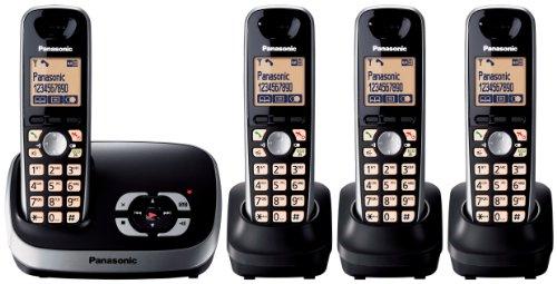 Panasonic KX-TG6524EB DECT Quad Digital Cordless Phone Set with Answer Machine - Black
