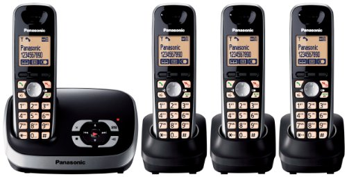 Panasonic KX-TG6524EB DECT Quad Digital Cordless Phone Set with Answer Machine - Black