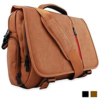 "Snugg™ Crossbody Shoulder Messenger Bag in Brown Leather - Fits Laptops up to 17"" 2"