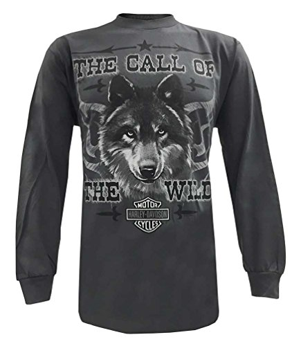 Harley-Davidson Men's Long Sleeve T-Shirt, Call Of The Wild Wolf Tee, Gray (S)