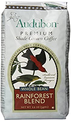 Audubon Premium Shade Grown Coffee Whole Bean, Rainforest Blend, 12 Ounce