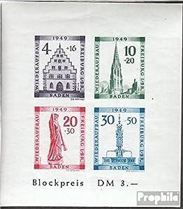 Franz. Zone-Baden Block1B (kompl.Ausg.) geprüft postfrisch 1949 Freiburg (Briefmarken für Sammler)