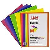 JAM Paper® Plastic 2-Pocket Folders - Eco Friendly Folder - Assorted Colors - Pack of 6 Folders