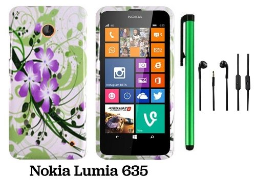 Nokia Lumia 635 (Us Carrier: T-Mobile, Metropcs, And At&T) Premium Pretty Design Protector Cover Case + 3.5Mm Stereo Earphones + 1 Of New Assorted Color Metal Stylus Touch Screen Pen (Splash-Ink Painting Purple Green Flower On White)