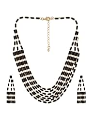 Fashionable New Look Black Beads Lond Chain Necklace Set By Lazreena