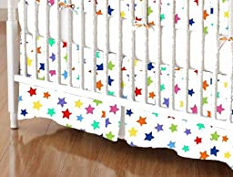 SheetWorld - Crib Skirt (28 x 52) - Primary Colorful Stars On White Woven - Made In USA