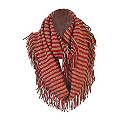 Red and Tan Bohemian Knit Striped Infinity Loop Scarf Wrap w/ Fringe Tassels