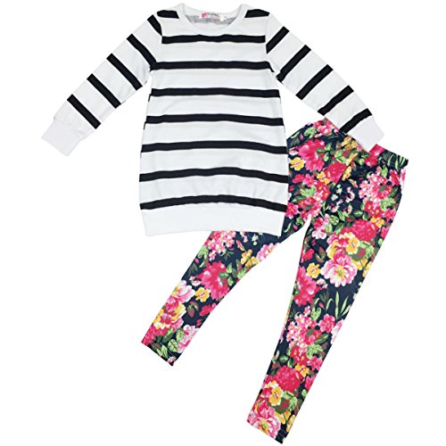 Jastore Kids Girls Clothing Sets Long Sleeve Stripe Shirt+Floral Pants Outfits (2-3 Years)
