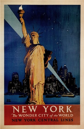 c1927 Vintage Travel AMERICA to NEW YORK The Wonder City of the World 250gsm A3 Gloss Art Card Reproduction Poster