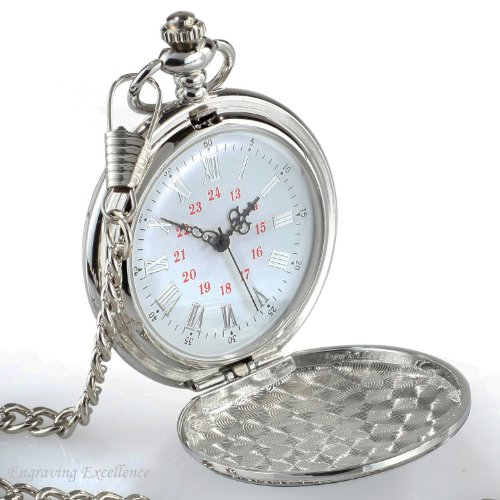 Personalised Engraved Silver Pocket Watch. Engraved with any message of your choice.