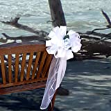"""White Wedding Pull Bows with Tulle Tails and Roses - 8"""" Wide, Set of 6"""