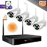 CORSEE Plug and Play Wireless Surveillance System, 4 Channel 720P HD Wifi Night Vision Cameras with Motion Detection Alarm and Remote View by ISO or Android App with 1TB Hard Drive