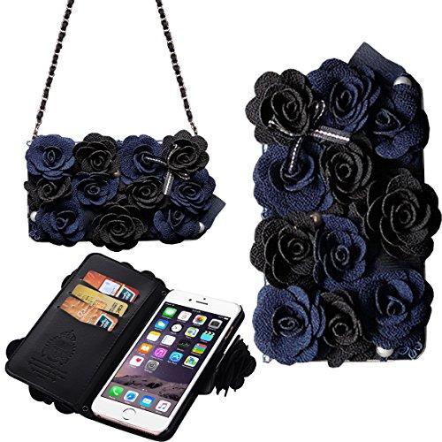 [Card Slot] magnetico Hybrid Portafoglio donna borsetta con tracolla catena Borsetta Custodia Cover per, Similpelle, Black&Blue, iPhone 6/6S