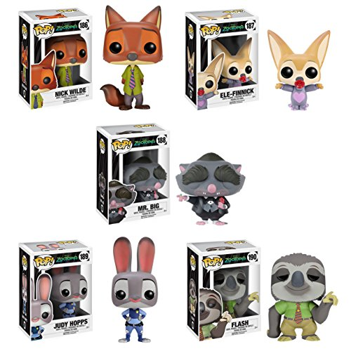 Funko Zootopia POP! Disney Vinyl Collectors 5-piece Set, 3.75 Inch High Includes Nick, Judy Hopps, Finnick, Mr. Big and Flash