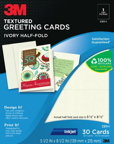 Very cheap greeting cards 3m half fold textured greeting cards 3m half fold textured greeting cards inkjet 2 sided white 5 12 x 8 12 inches 30 cards and envelopes per pack c511 i review m4hsunfo