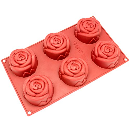 Freshware SL-135RD 6-Cavity Silicone Rose Muffin, Cupcake, Brownie, Cornbread, Cheesecake, Panna Cotta, Pudding, Jello Shot and Soap Mold (Fruit Cake Loaf compare prices)