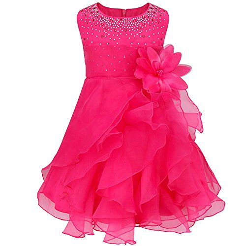 TIAOBU Baby Girls Cascading Organza Rhinestone Flower Baptism Party Dress Rose 9-12 Months