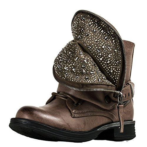 Toocool - Scarpe donna stivaletti stivali anfibi zip camperos strass biker nuovo 14026-MOD [39,kaki]