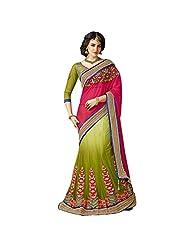 Ambitions Fashion Women's Mehendi Green, Olive Green, Red Faux Chiffon,Net Lehenga Style Saree