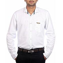 Aaduki Men's Casual White Shirt-XXL