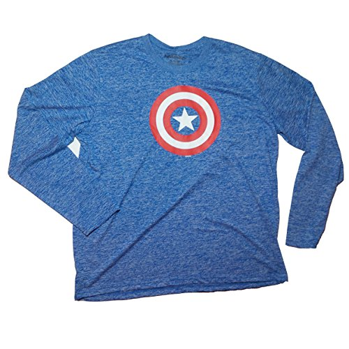Marvel Captain America Logo Polyester Workout Exercise Graphic Longsleeve t-shirt Large