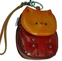 Real Leather Wristlet Change/coin Purse, a Cat Pattern Design. Unique and Cute !