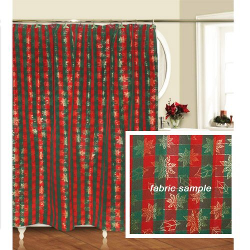 Christmas Holiday Plaid 13 Piece Shower Curtain Hook Set