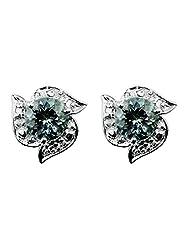 Carillon India Aquamarine& Diamond 10K White Gold Stud Earring