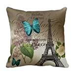 Seemuch Decorative Cotton Elegant botanical art floral vintage paris throw pillow covers 18 x 18