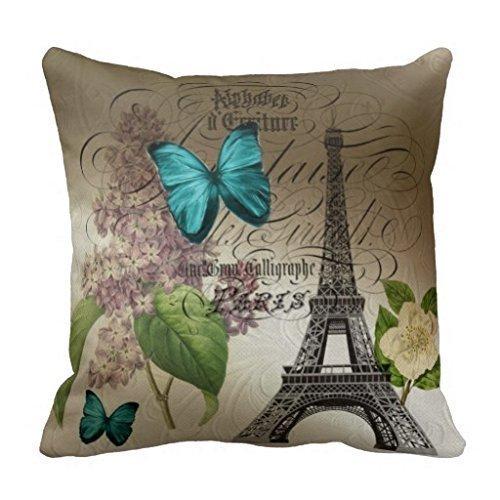 Seemuch Decorative Cotton Elegant botanical art floral vintage paris throw pillow covers 18 x 18